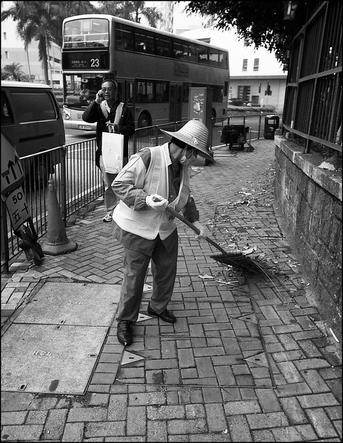 Cleaning the street