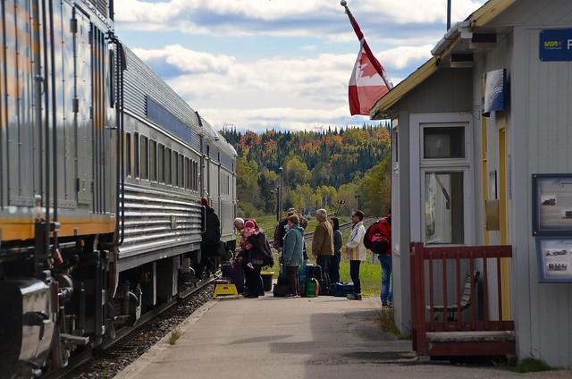 Boarding at Rivière-à-Pierre station