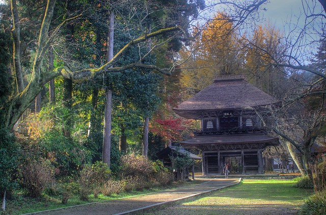 Old Temple in autumn forest