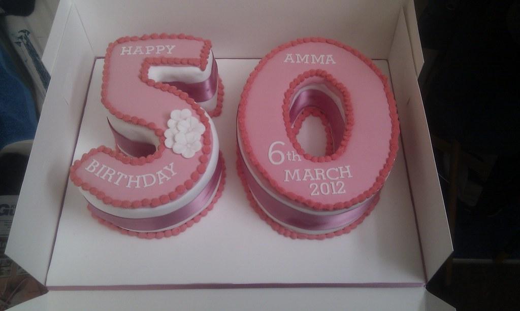 Strange 50Th Number Birthday Cake Pink Topped Chocolate Cake Wit Flickr Personalised Birthday Cards Akebfashionlily Jamesorg