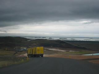 Truck descending toward Myvatn