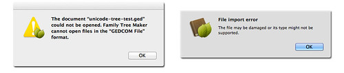 Family Tree Maker 2010 for Mac (Left) and Family Tree Maker for Mac 2 Rejecting Unicode GEDCOM Files | by genealogysoftware