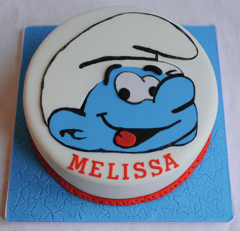 Astonishing Smurf Birthday Cake Thecustomcakeshop Co Uk Facebo Flickr Funny Birthday Cards Online Overcheapnameinfo
