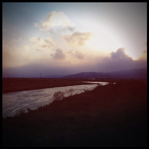 sunset sky clouds river 雲 空 fukushima 夕焼け 川 福島