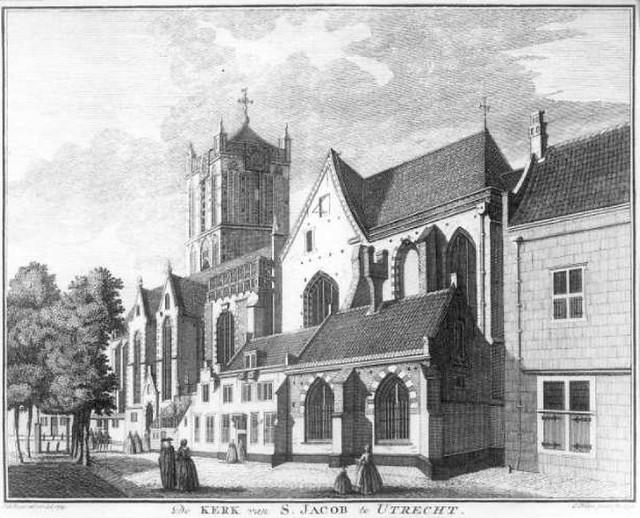 Jacobikerk 18e eeuw. Coll. Het Utrechts Archief.