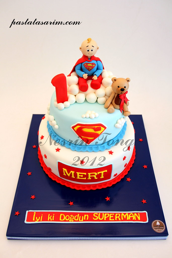 Marvelous Superman Mert 1St Birthday Cake Cake By Nesrin Tong Flickr Funny Birthday Cards Online Bapapcheapnameinfo