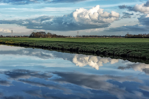 reflection water grass clouds landscape canal bluesky grassland polder bluemonday middendelfland nederlandvandaag