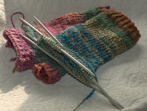 Fingerless mitts in progress | by schjerning