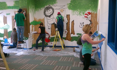 The Art Institute of Fort Worth students create elementary school mural