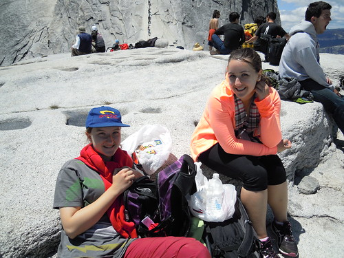 Hiking (and Climbing) Half Dome: New friends Hope and Laura   by mormolyke