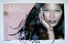 "great stamp Austria 75c portrait Naomi Campbell ""Life Ball"" Wien Vienna (charity event, Benefizgala, événement de charité, raccolta fondi, evento de caridade, ????????????????? ?????) ???????? ????? ???????  ????? ?????? frimærker østrig markica Austrija"