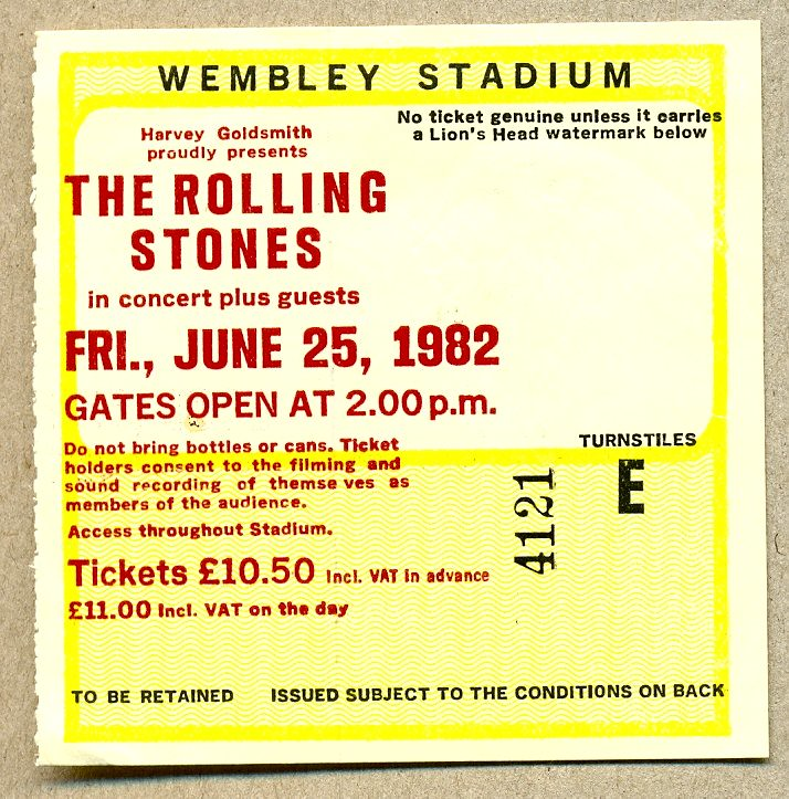 Rolling Stones, Wembley Stadium (1982) | This is my ticket f