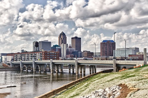 city longexposure urban color skyline clouds canon river landscape spring midwest day cityscape cloudy outdoor overpass bluesky walkway repair 7d daytime hdr pathway riverwalk puffyclouds 2012 desmoinesriver mlkbridge 1585 desmoinesisnotboring