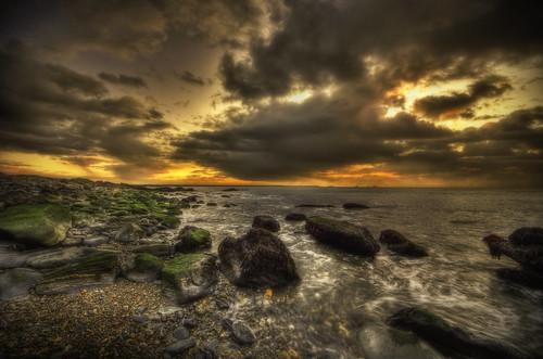 ocean ri sea sun seascape seaweed green clouds sunrise soup rocks warm glow newengland rhodeisland algae hdr ooze primordial tonemapped sachuestpointnationalwildliferefuge