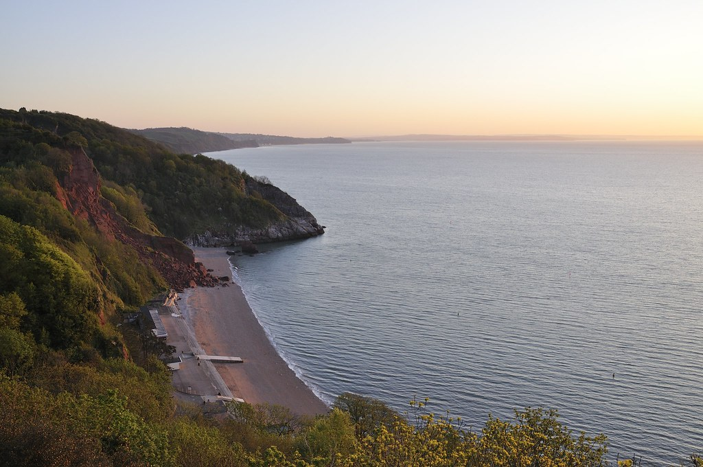 Oddicombe Beach At Dawn | View out at Lyme Bay from Oddicomb