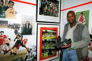 Michael Thomas with the Anfield 89 boots