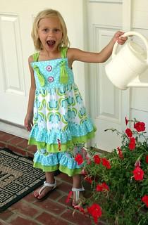Jewel watering the flowers