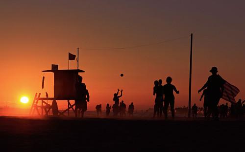 sunset tower evening football lifeguard newportbeach backlit singles