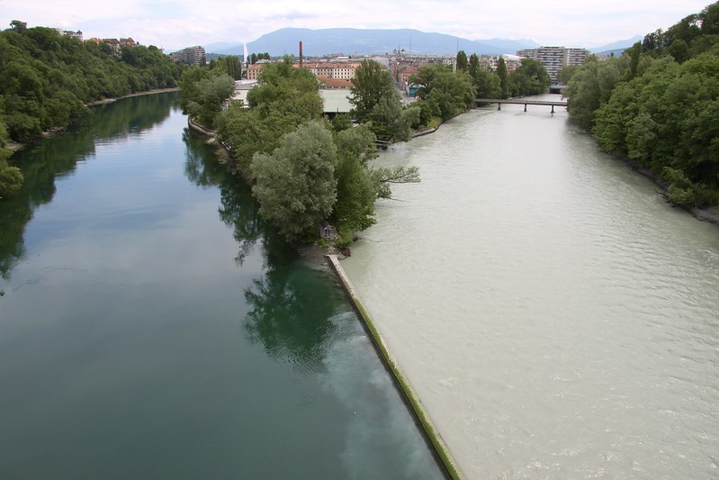 Freshwater: The Rhône flowing out of Lac Léman meets the silt laden Arve flowing down from the Chamonix Valley