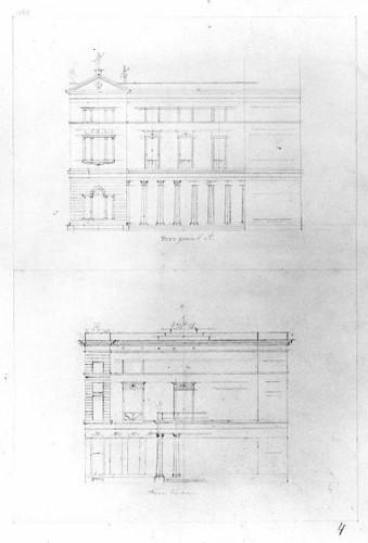 Afbeelding van de voorgevel (boven) en de achtergevel (onder) van een winkelpand: tweede onuitgevoerd ontwerp voor de manufacturenwinkel van A. Sinkel (Oudegracht Weerdzijde 7) te Utrecht.. Coll. Het Utrechts Archief.
