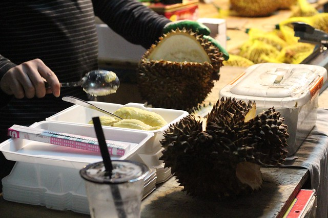 cutting up durians