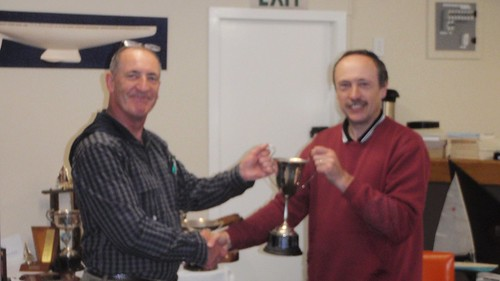 Jeff Coffin receiving Winter Series trophy for 1st Place | by PLSC (Panmure Lagoon Sailing Club)