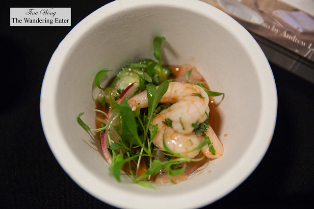 """Black sea bass and scallop """"Bloddy Mary"""" ceviche by Eugene & Co."""