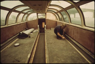 Interior of an Amtrak dome passenger car has been stripped at a plant in Mira Loma, California, near Riverside, May 1974