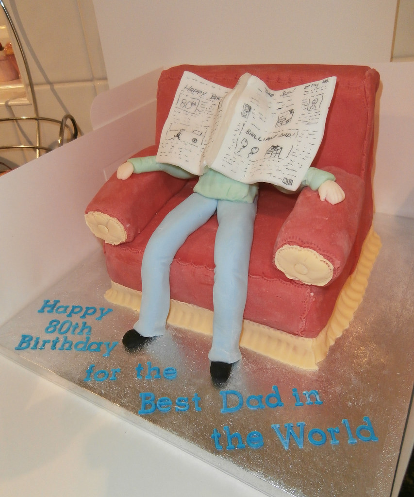 Dad Asleep In Chair 80th Birthday Cake