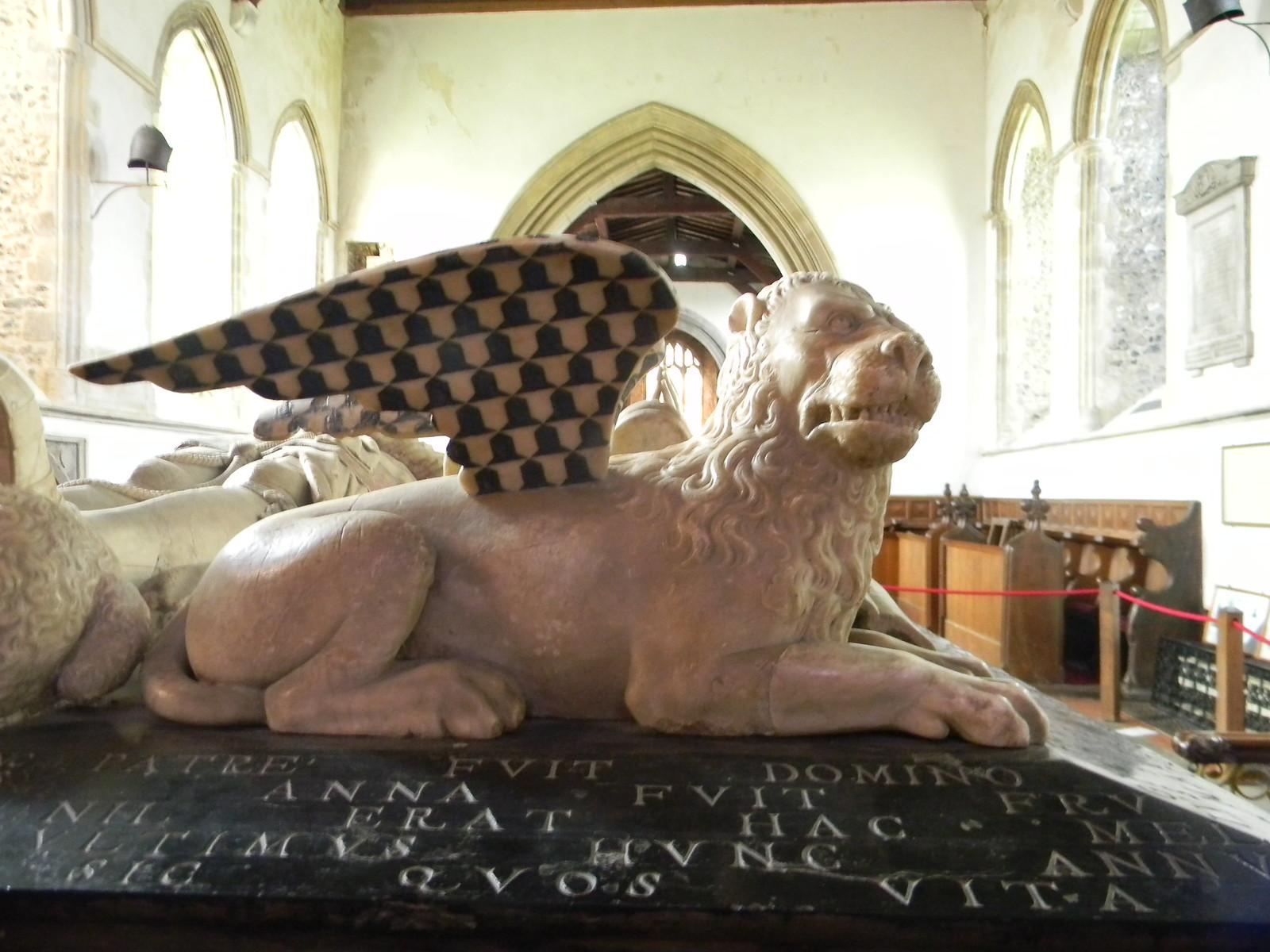Winged Lion - Cobham Church Brooks tomb. Cobham Church. Cuxton to Sole Street