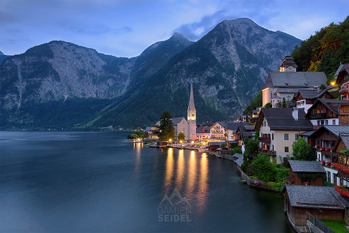 longexposure travel sunset lake mountains alps church landscape austria evening town twilight medieval cliffs bluehour hallstatt nikond810