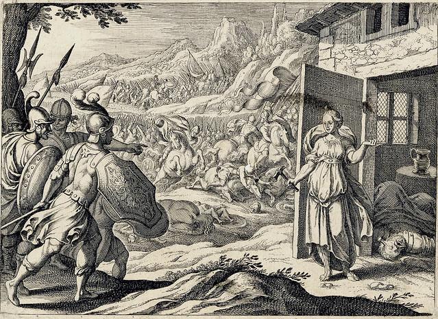Matthäus Merian - Jael shows Barak the corpse of Sisera