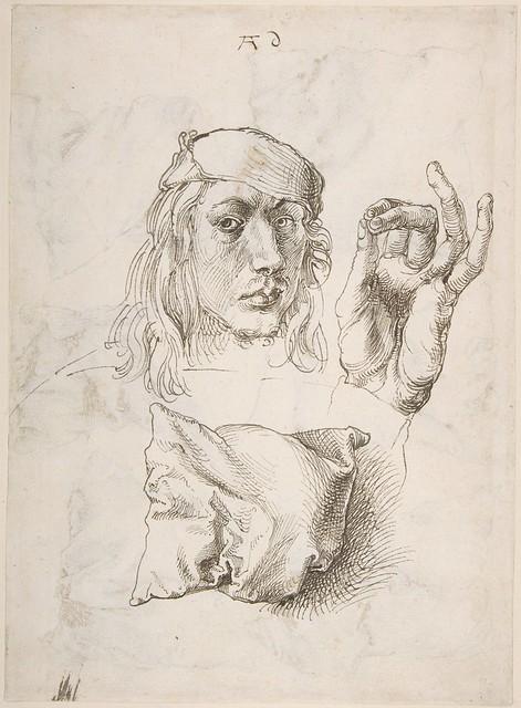 Dürer: self-portrait, study, drawing, detail [1493]