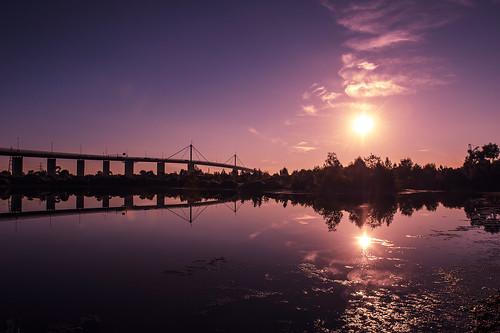 bridge sunset sky cloud sun reflection tree water pond melbourne freeway rays d4