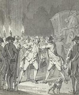 Detail van een tekening van J. Buys 1801 (coll. Rijksmuseum), getiteld 'De Utrechtse burgemeester [A.] Loten door woedende burgers aangevallen, 19 december 1785.