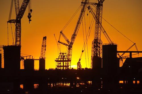 atlanta atlantaga georgia city cityscapes buildings atl stadium construction crane sunset color silhouette mercedezbenzstadium superbowlliii