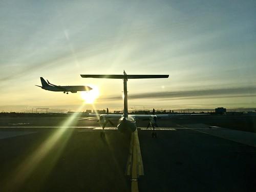 sunrise landing yyz toronto b737 q400 shilouette