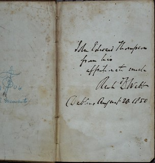 Thompson Inscription in Whittier Poems 1838