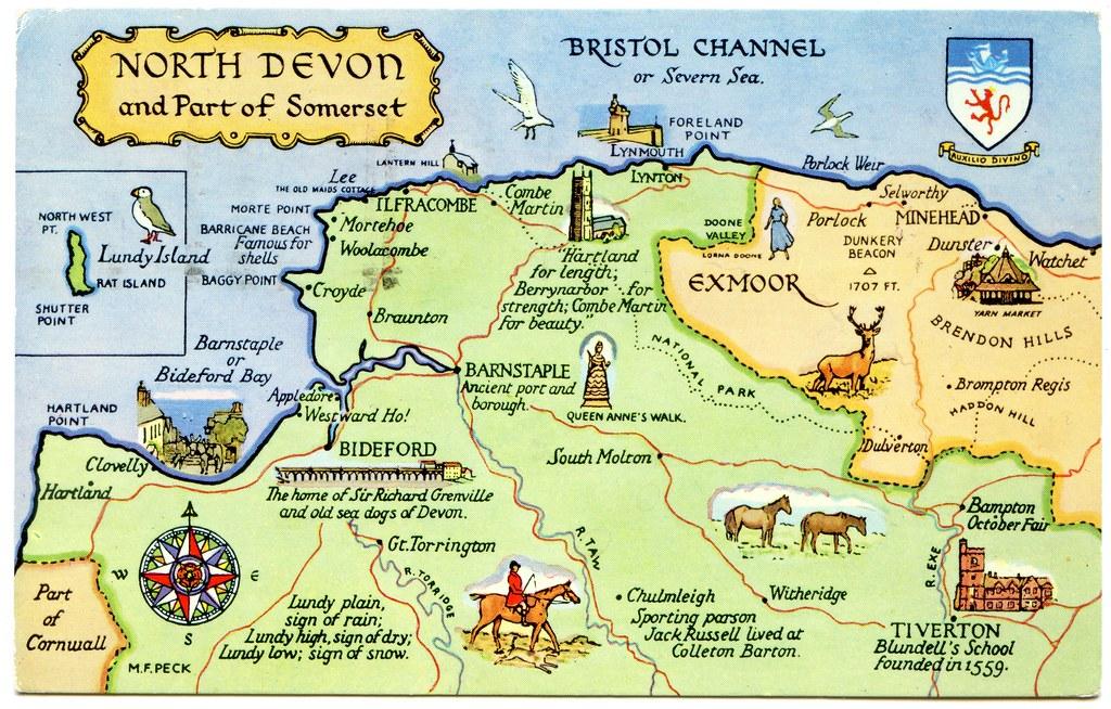 North Devon Map Postcard map of North Devon and part of Somerset | Drawn by … | Flickr