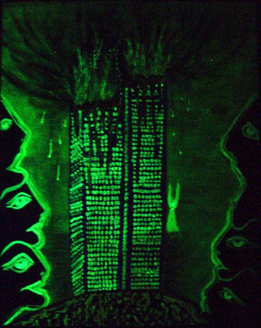 911Holy Bush, Acrylic mix on card 50x63cm visible in in the dark