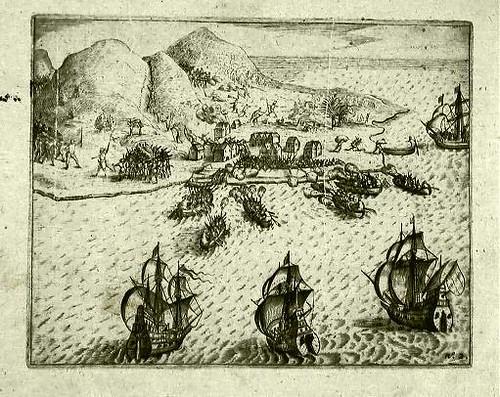 Zeeslag waarbij de Portugezen bij Ambon verslagen werden. Van der Haghen had als admiraal de leiding over de VOC vloot.