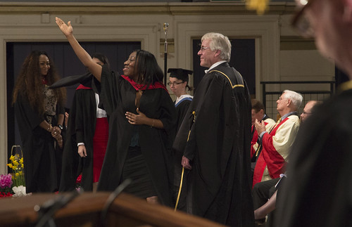 Student crossing the stage