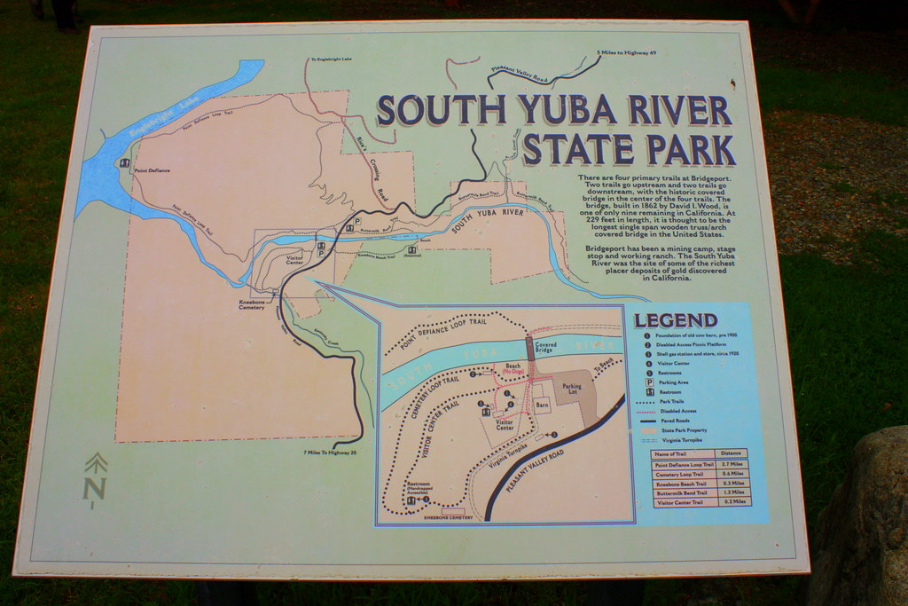 Map of South Yuba River State Park | ermilk Bend Trail ... Bridgeport State Park Map on