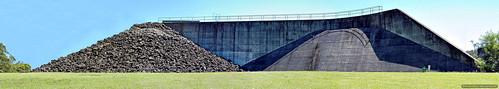 panorama abstract green grass wall architecture grey rocks dam structures australia reservoir nsw manmade embankment kyogle toonumbardam