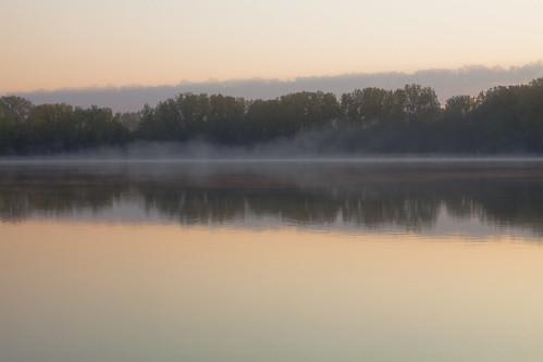 morning sun lake reflection water minnesota fog sunrise reflections day minneapolis cedar