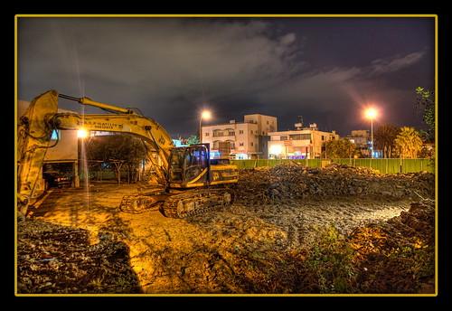 houses night lights construction nikon ruins cyprus dirt hdr nicosia photomatix 3exp escavator aglantzia aglanjia αγλαντζιά d5100
