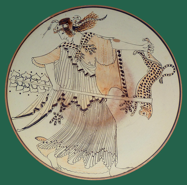 Ecstatic Maenad with panther and thyrsos stave