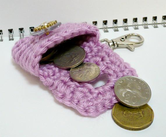 5fb1e5b04 ... Crochet Small Change Purse/Coin Pouch/Key Holder in Sweet Lavender   by  Melbangel