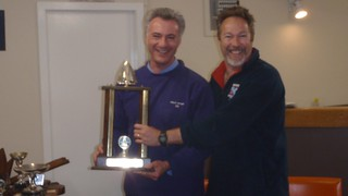Paul Tanner and Don Harland sharing the 1st prize for the Match Racing Trophy   by PLSC (Panmure Lagoon Sailing Club)