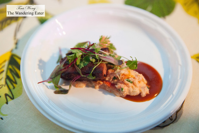 Black pepper crusted bacon with lobster barbecue glaze by Isabella's
